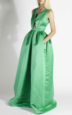 Rochas Pea Green Duchesse Cut Out Gown by Rochas for Preorder on Moda Operandi