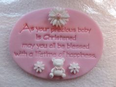 EDIBLE PINK ICING OVAL FONDANT CAKE TOPPER CHRISTENING PLAQUE - GIRL