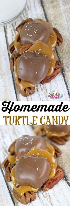The Harvest Homemade Turtle Candy Recipe is made with pecans, Caramel Creams and chocolate for a taste that will keep you coming back for more. An easy to make homemade turtle candy recipe that will make your Fall feast complete. Köstliche Desserts, Delicious Desserts, Dessert Recipes, Recipes Dinner, Holiday Baking, Christmas Baking, Homemade Christmas Candy, Easy Christmas Candy Recipes, Homemade Turtles