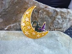 Quirky Cute Vintage Glittery Halloween Pin by TwinklingStarVintage