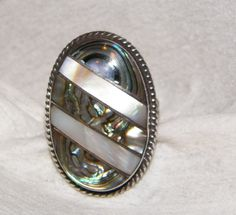 Stunning Vintage 925 Mother Of Pearl And Abalone by MerakiByMe