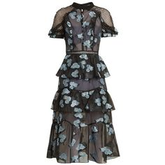 Self-portrait Open-back floral fil coupé midi dress (455 NZD) ❤ liked on Polyvore featuring dresses, blue multi, transparent dress, ruffle dresses, ruffle midi dress, see-through dresses and floral dresses