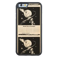 Round Trip To The Moon Maple iPhone 6 Bumper Case-from zazzle.com - $50.95---A Ton of freight to the Moon and Back-Individually handmade by artisans using domestically and sustainably harvested natural wood, this beautifully crafted case by Carved combines real wood with a full wrap flexible bumper rim for added protection. #Vintage   #Railroad  #Train  #Freight  #Moon  #iPhone6   #Case