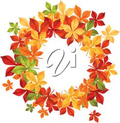 iCLIPART - Autumn falling leaves in frame for seasonal or thanksgiving design