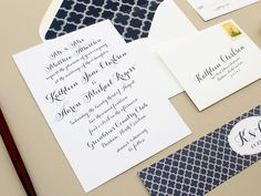 Merriment  Calligraphy Wedding Invitation  Navy by BanterandCharm