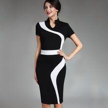 Contrast Fashion Optional Illusion Business Vintage Office Dress Zipper Stand-up Collar Elegant Short Sleeve Slim Fit Dress B320