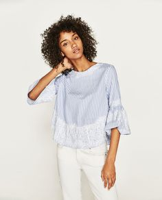 BLOUSE WITH LACE DETAILS-View all-TOPS-WOMAN | ZARA United Kingdom