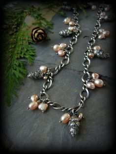 Pearl and Pinecone Sterling Necklace, Nature Charm Necklace, by T and Brie