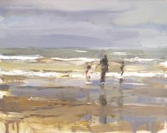Roos Schuring New paintings- Seascapes and landscapes plein air  Seascape spring # 15 Pink coat - zeegezicht
