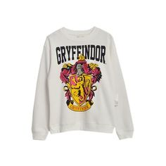 Gryffindor Badge Print White Cotton Sweatshirt SS0300040 ($30) ❤ liked on Polyvore featuring tops, hoodies, sweatshirts, harry potter, print top, pattern tops, patterned sweatshirt, white cotton tops and cotton sweatshirt