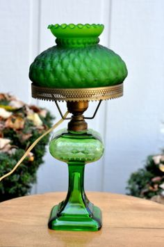 Vintage-green-glass-converted-oil-lamp-and-shade