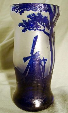 AUSTRIAN CAMEO GLASS WINDMILL LIKE GALLE DAUM For Sale | Antiques.com | Classifieds