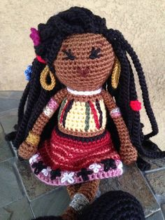 Crochet African Princess Rapunzel Doll Plush Vegan Long Dreads Natural Black Hair Yellow Red Stuffed Toy Baby Girl Gift MADE TO ORDER