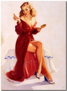 Vintage-GIL-ELVGREN-Pinup-Girl-CANVAS-PRINT-Lipstick-Doesnt-keep-Chap-Away-A4