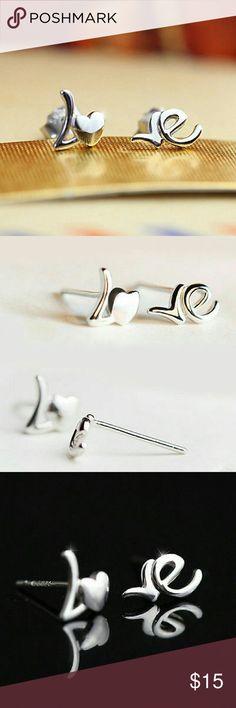 Sterling Silver LOVE Earrings 925 sterling silver Lo Ve stud earrings Jewelry Earrings