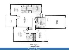 Naval Complex San Diego – Pomerado Terrace Neighborhood: 2 bedroom 1 bathroom home floor plan designated for E1-E9 service members.
