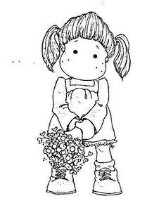 .tilda et ses couettes avec un bouquet de fleurs - fête des mères
