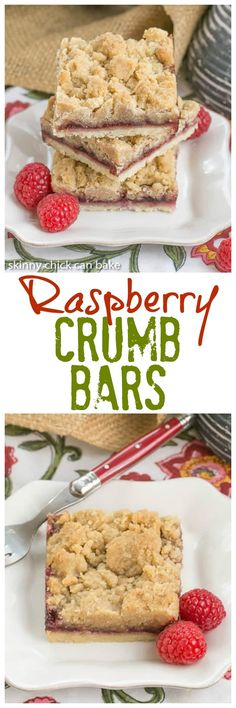Raspberry Crumb Bars | Simple, but delectable bars with a layer of raspberry jam and a thick crumb topping! @lizzydo