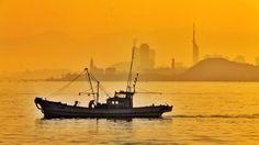 Fisherman boat  Early in the morning at Hakata bay in Japan