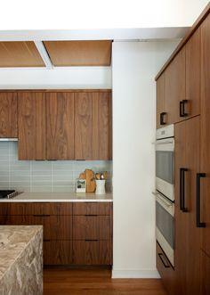 Midcentury Ranch Kitchen   Fireclay Tile Modern Kitchen Cabinets, Dark Cabinets, Kitchen Tiles, Mid Century Ranch, Mid Century House, White Countertops, Kitchen Countertops, Ikea, Fireclay Tile