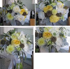 yellow garden roses, yellow dahlias, white roses, scabiosa, veronica, arabicum and white feathers