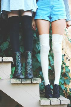 Thigh high socks with boots and contrasting shoes