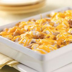 Ranch Potato Cubes --> 7 medium potatoes cut into 1/2 in cubes, 1/4 c butter cubed, 1 c (8 oz) sour cream, 1 envelope ranch salad dressing mix, 1 c shredded cheddar cheese --> Put potatoes in greased 11x7 in baking dish, dot with butter, cover-bake 325 F for 60 min.  Combine sour cream & ranch mix, spoon over potatoes, sprinkle cheese, bake uncovered for 10 min