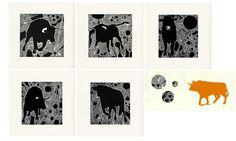 Noémie Lesquins (Angelikno), Un toro dans les astres / Silex (travail en cours), linogravure sur chine collé, 2015. (Projets personnels)