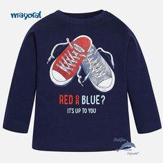 Camiseta de niño bebe MAYORAL manga larga zapatillas marino
