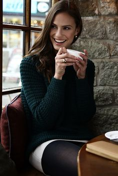 The waffle knit sweater: delicately knit, sumptuously soft. Pairs perfectly with a cup of coffee.