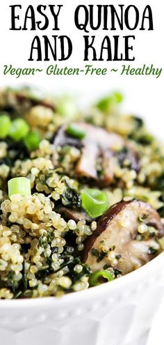 This easy vegan quinoa recipe with mushrooms and kale is a delicious healthy simple side dish or main course. Make this for lunch or dinner in minutes in a skillet on the stovetop. Vegan Quinoa Recipes, Vegan Dinner Recipes, Healthy Salad Recipes, Vegan Dinners, Whole Food Recipes, Vegetarian Recipes, Simple Kale Recipes, Vegan Soups, Family Recipes
