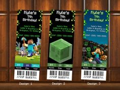 Minecraft Birthday Invitations Ticket Style Digital File  by KustomKreations, $5.00 USD