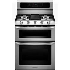 KitchenAid Architect Series II 6.7 cu. ft. Double Oven Dual Fuel Range with Self-Cleaning Convection Oven in Stainless Steel-KDRS505XSS - The Home Depot
