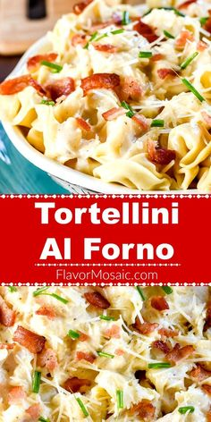 This Tortellini Al Forno, a copycat Olive Garden recipe, has pillowy cheese filled tortellini in a rich parmesan cream sauce with crumbled bacon and chives. Tortellini Carbonara Recipe, Tortellini Alfredo, Chicken Tortellini, Tortellini Recipes, Cheese Tortellini, Pasta Recipes, Dinner Recipes, Dinner Ideas, Indian Food Recipes