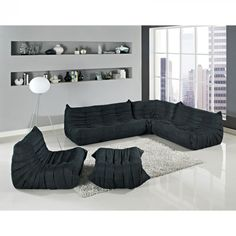 Modway Waverunner Sectional Sofa In Black Living Room Furniture 5 Piece Set