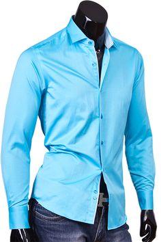 Купить Мужская приталенная рубашка с длинным рукавом бирюзового цвета фото недорого в Москве