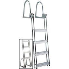 Garelick EEz-In Anodized Aluminum 4-Step Dock/Raft Ladder, Flip-Up Model, Silver