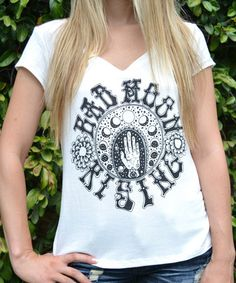 Look what I found on #zulily! White 'Bad Moon Rising' Cap-Sleeve V-Neck Tee #zulilyfinds