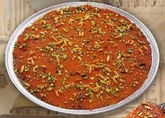 Knafeh, knafah, konafah, konafeh is a traditional dessert which is very popular in the Levant region of the Middle East and which is originally from Nablus, a prominent city in the West Bank of Palestine