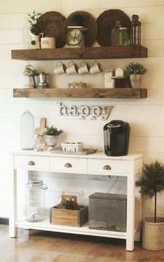 coffee area cabinet ideas - cute for a farmhouse style kitchen or dining room with a coffee bar area #kitchenideas #diyroomdecor #homedecorideas #diyhomedecor #farmhousedecor