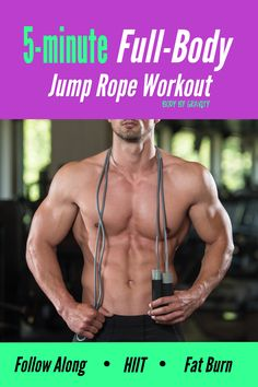 Burn fat in less time with this intense full-body jump rope workout. Get lean and muscular with this simple 5-minutes jump rope circuit you can do anywhere! Bodyweight Strength Training, High Intensity Interval Training, Jump Rope Workout, Dumbbell Workout, Weight Loss Workout Plan, Weight Loss Tips, Lose Weight, Best Body Weight Exercises, Lower Abs