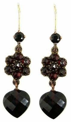 Garnet Jewelry, Garnet Earrings, Diamond Jewelry, Drop Earrings, Ancient Jewelry, Antique Jewelry, Vintage Jewelry, Unusual Jewelry, Modern Jewelry