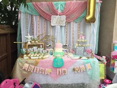 Stunning dessert table at a  mermaid birthday party! See more party planning ideas at CatchMyParty.com!
