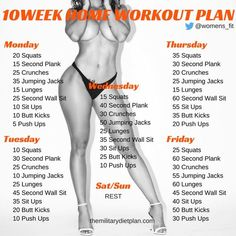 If you want to lose weight, gain muscle or get fit check out our men's and women's workout plan for you, Here are mini-challenges or workouts that can be done at home no equipment needed. Take these steps: Drink plenty of Water or infused water Body Fitness, Fitness Diet, Fitness Motivation, Health Fitness, Fitness Plan, Fitness Goals, Workout Plan For Women, At Home Workout Plan, At Home Workouts