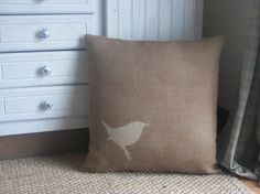 Wren hand-printed rustic cushion.