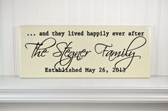 """Personalized Family Name Sign - Wood Established Date Signs with Love and Family Quote """"...and they lived happily ever after - Custom Engraved Wooden Plaque - Wedding Gifts"""