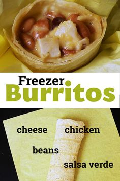 Make these easy burritos and save money. These Chicken, Bean, and Cheese Burritos have only 5 ingredients and cost just 49 cents each! Easy Weekday Meals, Easy Meals, Freezer Cooking, Cooking Time, Freezer Burritos, Bean Burritos, Homemade Burritos, Good Food, Yummy Food