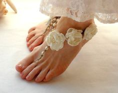 Items similar to Barefoot Wedding Sandals Ivory or White Barefoot Sandal Bridal Footwear Flower Anklet Intimate Lingerie Foot Accessories Bride Foot Jewelry on Etsy Barefoot Sandals Wedding, Beach Wedding Shoes, Bridal Sandals, Dream Wedding, Garden Wedding, Bridesmaid Sandals, Barefoot Beach, Going Barefoot, Bride Shoes