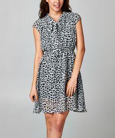 Loving this Black & White Cheetah Blouson Dress on #zulily! #zulilyfinds