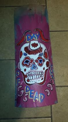 Day of the Dead Painted Sugar Skull Clay Roof Tile